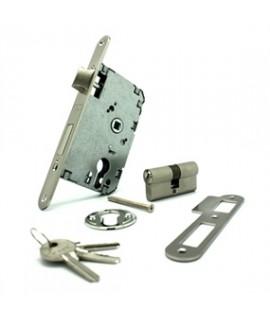 Cerradura de seguridad con cilindro 60mm Canto: Redondo A50/D47 nique